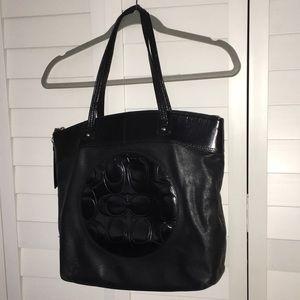 coach black leather tote